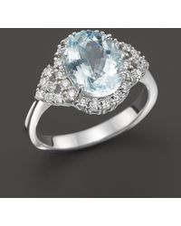 Bloomingdale's - Aquamarine And Diamond Ring In 14k White Gold - Lyst
