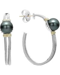 Lagos - 18k Gold And Sterling Silver Luna Cultured Freshwater Black Pearl Hoop Earrings - Lyst
