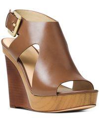 MICHAEL Michael Kors - Women's Josephine Leather Platform Wedge Sandals - Lyst