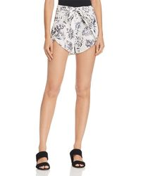 Aqua - Palm Print Shorts - Lyst