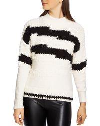 1.STATE - Zigzag Stripe Textured Crewneck Cotton Blend Jumper - Lyst