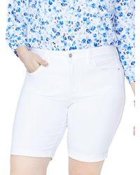 NYDJ - Briella Roll-cuff Bermuda Shorts In Optic White - Lyst