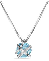 David Yurman - Petite Cable Wrap Necklace With Blue Topaz And Diamonds - Lyst