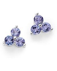 Bloomingdale's - Tanzanite Three Stone Stud Earrings In 14k White Gold - Lyst