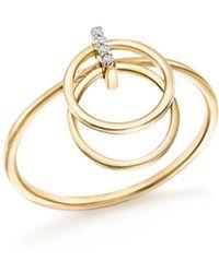 Mateo - 14k Yellow Diamond Accent Gold Circle Duo Ring - Lyst