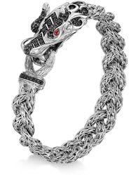 John Hardy - Sterling Silver Legends Naga Lava Dragon Head Bracelet With Ruby & Black Sapphire - Lyst