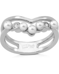 Majorica - Simulated Pearl Round Ring - Lyst