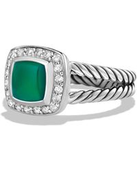 David Yurman - Petite Albion Ring With Green Onyx And Diamonds - Lyst