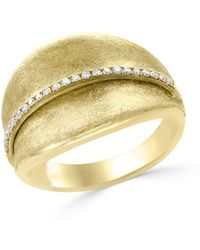 Bloomingdale's - Diamond Textured Wide Ring In 14k Yellow Gold, .15 Ct. T.w. - Lyst
