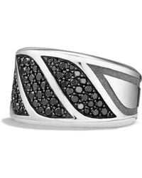 David Yurman - Graphic Cable Band Ring With Black Diamonds - Lyst