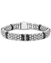 Lagos - Sterling Silver Black Caviar Rope Bracelet With Diamonds & Black Ceramic - Lyst
