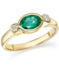 Bloomingdale's - Emerald Marquise And Diamond Bezel Ring In 14k Yellow Gold - Lyst