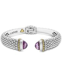 Lagos - 18k Gold And Sterling Silver Caviar Color Amethyst Cuff - Lyst