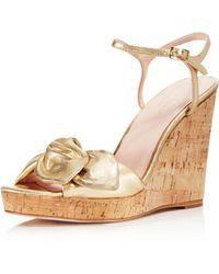 Kate Spade - Women's Janae Metallic Leather Platform Wedge Sandals - Lyst