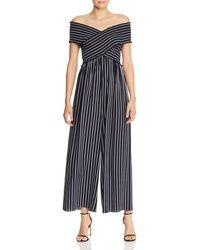 Aqua - Smocked Striped Wide - Leg Jumpsuit - Lyst