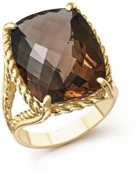 Bloomingdale's - Smoky Quartz Rectangular Statement Ring In 14k Yellow Gold - Lyst