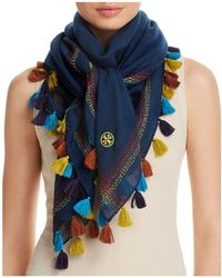 Tory Burch - Embroidered Oversized Square Scarf - Lyst