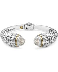 Lagos - Sterling Silver & 18k Yellow Gold Caviar Large Cuff Bracelet With White Topaz - Lyst