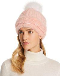 Maximilian - Fox Fur Pom-pom Knit Mink Fur Hat - Lyst