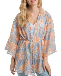 Lyssé - Olivia Floral-embroidered Mesh Cardigan - Lyst