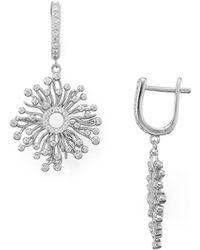Aqua - Sterling Silver Cluster Drop Earrings - Lyst