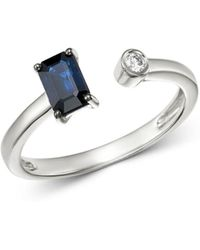 Bloomingdale's - Sapphire & Diamond Geometric Open Ring In 14k White Gold - Lyst
