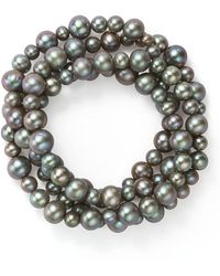 Bloomingdale's - Dyed Gray Cultured Freshwater Pearl Four Row Stretch Bracelet - Lyst
