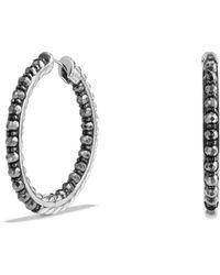 David Yurman - Cable Berries Hoop Earrings With Hematine - Lyst