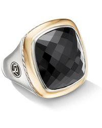 David Yurman - Albion Sterling Silver, 18k Yellow Gold & Black Onyx Ring - Lyst
