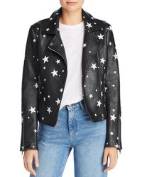 Aqua - Star Print Faux Leather Moto Jacket - Lyst