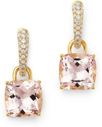 Kiki McDonough - 18k Yellow Gold Classics Cushion-cut Morganite & Diamond Drop Earrings - Lyst