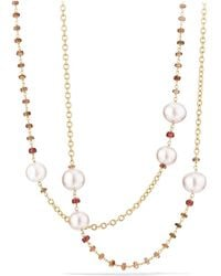 David Yurman - Solari Link Necklace In 18k Gold With Cultured Yellow South Sea Pearl And Andalusite - Lyst