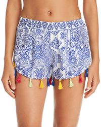 Surf Gypsy - Mykonos Print Tassel Detail Shorts Swim Cover-up - Lyst