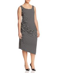 Vince Camuto Signature - Stripe-print Ruched Dress - Lyst