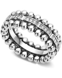 Lagos - Sterling Silver Caviar Spark Diamond Band - Lyst
