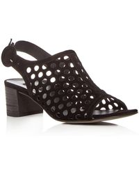 Paul Green - Women's Rae Perforated Suede Block Heel Sandals - Lyst