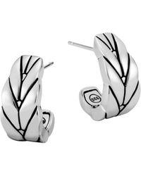 John Hardy - Sterling Silver Modern Chain Small J Hoop Earrings - Lyst