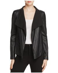 Donna Karan - Draped Collar Leather Jacket - Lyst