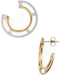 Nadri - Trio Two-tone Offset Hoop Earrings - Lyst