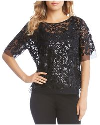 Karen Kane - Sequined Mesh Top - Lyst