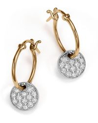 Bloomingdale's - Diamond Micro Pavé Disc Drop Earrings In 14k White And Yellow Gold, .25 Ct. T.w. - Lyst