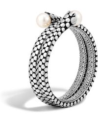 John Hardy - Dot Sterling Silver Double Coil Bracelet With Cultured Freshwater Pearls - Lyst