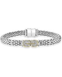 Lagos - Sterling Silver Beaded Bracelet With Diamonds And 18k Gold - Lyst