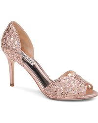 Badgley Mischka - Women's Harris Embellished Leather & Mesh D'orsay High-heel Pumps - Lyst