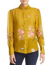013a719189485c Lyst - Joie Zambezi Butterfly Print Silk Blouse in Natural