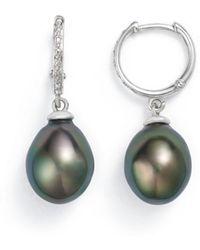 Tara Pearls - 14k White Gold Natural Color Tahitian Cultured Pearl Hoop Drop Earrings - Lyst