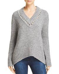 Aqua - Embellishedl V - Neck Sweater - Lyst