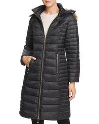 Kate Spade - Faux Fur Trim Hooded Puffer Coat - Lyst