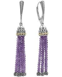 Lagos | 18k Gold And Sterling Silver Caviar Icon Tassel Earrings With Amethyst | Lyst
