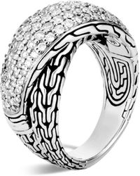 John Hardy - Sterling Silver Classic Chain Pavé Diamond Arch Crossover Ring - Lyst